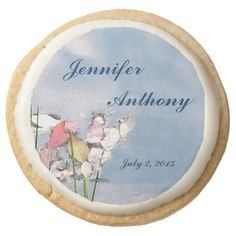 Pastel Reflections Wedding Sugar Cookies Round Premium Shortbread Cookie