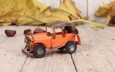 Tin car, Vintage handmade car, Metal toy car, Orange car, Retro car, Antique automobile, 1930 Model car, Vintage tin car, Old metal car