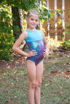 Sparkly Mermaid Scale Gymnastics Leotard- Handmade Toddler and Girls Gymnastics Dance Cheer Leotard - Sizes 2-10 by Charming Necessities