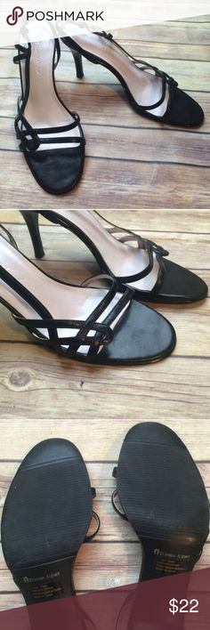 """Etienne Aigner slingback heels Etienne Aigner black strappy slingback heels.  Adjustable straps. 3"""" inch heel. Size is 8M. Leather upper. Very light visible wear on soles and taps. Versatile design goes from work week to weekend. No box. Not interested in trades. Etienne Aigner Shoes Heels"""