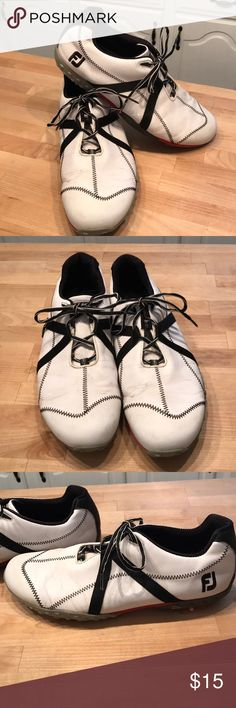 Foot joy M Project golf shoes sz 12 These are in good condition. They have some visible wear on the crease of toes which is pictured. The spike also need replaced. Footjoy Shoes