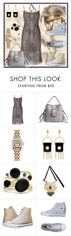 """Art Deco Event in Silver or Gold Converse. (glamor & comfort)"" by tgtigerlily ❤ liked on Polyvore featuring BCBGMAXAZRIA, Cartier, Effy Jewelry and Converse #artdecojewelry"