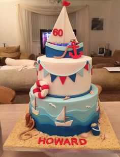 Nautical theme cake Nautical Birthday Cakes, Nautical Wedding Cakes, Baby Boy Birthday Cake, Nautical Cake, First Birthday Cakes, Nautical Theme, Cake Baby, Camo Wedding, Sweet Cakes