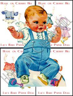 Image detail for -Baby Doll Paper Doll, vintage, digital, printable, PDF, JPEG, party ...