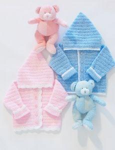 Hooded Baby Jacket | Yarn | Free Knitting Patterns | Crochet Patterns | Yarnspirations
