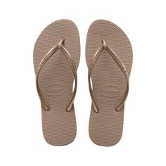 3dc185a51ebe Rose Gold Slim Womens Flip Flop The first pair of Havaianas was created in  with a design inspired by traditional rice straw Japanese sandals (h.
