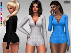 -a sexy wool knit buttoned romper bodysuit  Found in TSR Category 'Sims 4 Female Everyday'