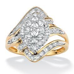Tutone 18k Gold over Sterling Silver  Diamond Cluster Swirl Ring