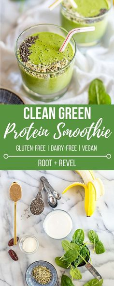 This healthy lean Green Protein Smoothie recipe is inspired by NYC's Juice Press--it's dairy free full of and vegan protein (chia seeds hemp seeds and almond butter) and a clean alternative to traditional protein shakes for weight loss and opt Green Protein Smoothie Recipe, Smoothie Bowl Vegan, Smoothies Vegan, Fruit Smoothies, Smoothie Cleanse, Smoothies For Dinner, Dairy Free Smoothie, Clean Smoothie, Pineapple Smoothies