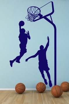 Sports Wall Decals and Wall Stickers like Fathead. Skateboarding Wall Decals, Swimming Wall Decals, Gymnastics Wall Decals, Ballet Wall Decals and Stickers Sports Wall Decals, Kids Wall Decals, Wall Stickers, Basketball Bedroom, Basketball Wall, Boy Room, Bedroom Boys, Nursery Room, Bedroom Ideas