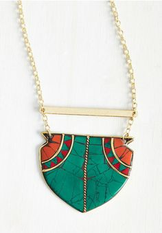 This longer statement necklace that will pop on a white t-shirt.
