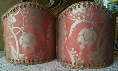 Pair of  Wall Sconce Clip-On Shield Shades Fortuny Fabric Bittersweet & Silvery Gold Persepolis Pattern - Handmade in Italy by OggettiVeneziani on Etsy