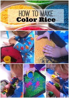 Learn how to make color rice with step-by-step pictures or watch the video on how to make color rice! PLUS ideas on how to play with your color rice too!