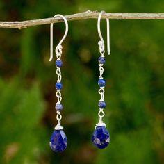 Lapis lazuli dangle earrings, 'Lady'