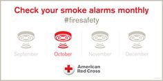 October is Home Fire Prevention Month. Time to check those smoke alarms and practice fire drills and evacuation plans. Working Smoke Alarms Save Lives!!! #firesafety #fireprevention #redcross #SmokeAlarmsSaveLives