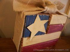 diy wood block craft | Wood Block Flag