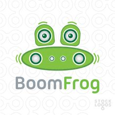 The logo concept represents the loud word Boombox creatively transformed into BoomFrog by means of the music dock and two portable speakers above, that looks like a cute frog's face.