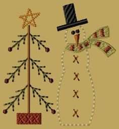 PK020 Snowman with Tree - 4x4: Primitive Keepers, Prim Machine Embroidery Designs