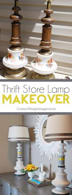 Cuckoo 4 Design: Thrift Store Lamp Makeover ~ It is amazing what some paint can do to update and freshen up a pair of lamps. An easy inexpensive DIY home decor project!