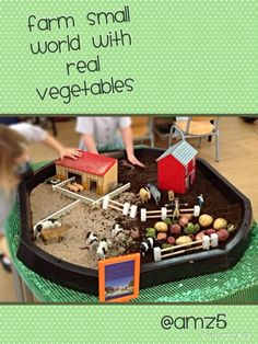 Farm small world Baby Room Activities, Eyfs Activities, Tuff Tray Ideas Toddlers, World Farm, Farm Animals Preschool, Tuff Spot, Turtle Crafts, Barn Wood Crafts, Farm Fun