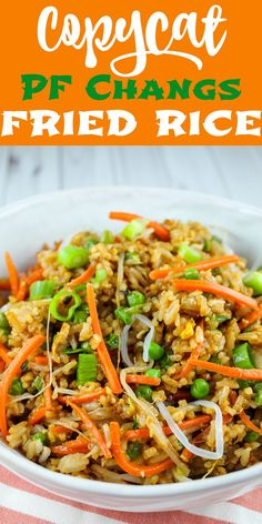 PF Chang's is one of my favorite places and I love their Fried Rice! It's really pretty easy to make and your whole family will love it! This recipe is ready in less than 30 minutes and you can add chicken to it to make it a meal. Pf Changs Fried Rice Recipe, Fried Rice Recipe Chinese, Ham Fried Rice, Making Fried Rice, Vegetable Fried Rice, Pf Chang Shrimp Fried Rice Recipe, Pei Wei Fried Rice Recipe, Asian Chicken Fried Rice Recipe, Homemade Fried Rice