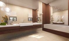 3D Bathroom Architecture Renders. Bathroom Lighting, Bathtub, 3d, Moana, Mirror, Architecture, Bathrooms, Interiors, Furniture