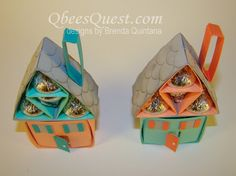 Hershey's House Tutorial by Qbee - Cards and Paper Crafts at Splitcoaststampers Chocolates, Origami And Quilling, Candy Crafts, Hershey Kisses, Paper Cards, Little Gifts, Craft Fairs, Making Ideas, Diy Gifts