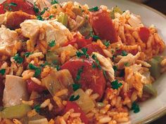 Chicken Jambalaya Recipe - 7 Point Value - LaaLoosh weight-watchers-recipes Ww Recipes, Chicken Recipes, Dinner Recipes, Cooking Recipes, Healthy Recipes, Freezer Cooking, Healthy Meals, Cajun Recipes, Cajun Cooking