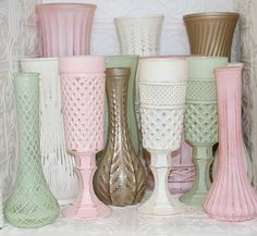 Blush Pink Mint Green Ivory Gold Shabby Chic Vase Set Made to Order Order on Etsy, $59.14 CAD Centerpieces?