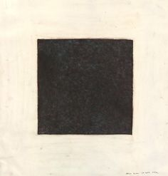 Alan Green Minimalist abstract drawing of a dark square centred in a larger plain square.  1979 Graphite over chalk and oil pastel (?)