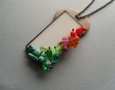 Artistic necklace contemporary jewelry colorful by ArtemisFantasy