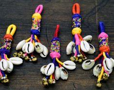 Banjara Tassel Cowrie Shell tassel Pom Pom by uDazzleSupplies
