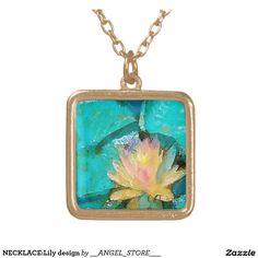 NECKLACE:Lily design Square Pendant Necklace