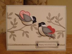 Valentine card using SU bird punch. More bird punch card ideas at this webpage.