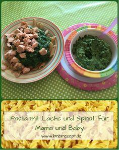 Pasta mit Lachs und Spinat schmeckt nicht nur vielen Mamas gut, sondern eignet sich auch ganz wunderbar als Babybrei mit Fisch. Mit unserem Rezept könnt ihr eine leckere gemeinsame Mahlzeit für Eltern und Baby kochen, indem ihr eine Portion als Babybrei püriert. Hier geht es zur Anleitung wie ihr den Brei selber kochen könnt: http://www.breirezept.de/rezept_lachs-spinat-brei_mit_pasta.html