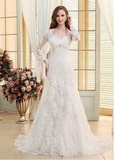 Buy discount Elegant Tulle V-neck Neckline Mermaid Wedding Dresses With Beaded Lace Appliques US 4 at Dressilyme.com