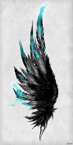 Крыло с черными перьями. Скачать тату фото, эскиз татуировки.