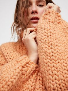 a59cb1c468f2 Chunky knit, warm and cozy turtleneck sweater, perfect for the autumn and  winter months, love the soft pink peach colour.