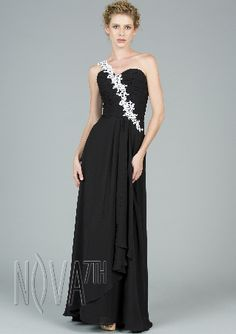 Black Dress Party With Flower Ribbon Evening Dress