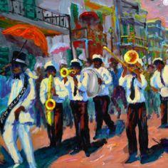 New Orleans Second Line (artwork by Bob Graham) New Orleans Music, New Orleans Art, Samba, Johnny Rodriguez, Second Line Parade, Umbrella Art, Jazz Artists, Jazz Music, Black Art