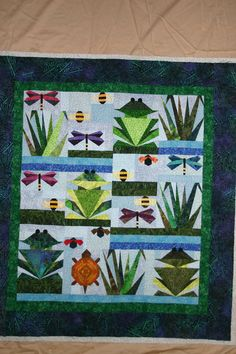 On the pond quilt - frogs & dragonflies