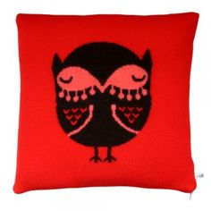 Donna Wilson Knitted Owl Cushion - Red/Ebony