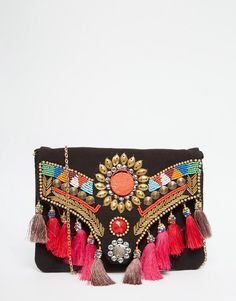 Image 1 of Glamorous Foldover Clutch Bag With Tassels & Beading