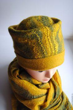 """Купить Шапка и шарф валяные """"Тёплая осень"""" - валяная шапка, Валяная шапочка, шапка"""