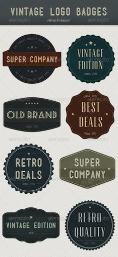 Modern Vintage Logo Badges - GraphicRiver Item for Sale