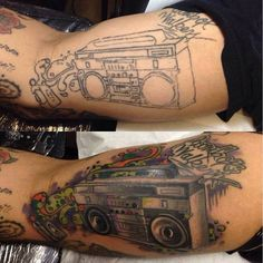 Ruslan Refreshing A Very Old Tattoo Of Boombox by HammersmithTattoo on DeviantArt