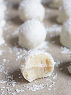 These no-bake sugar cookie truffles are little balls of cookie goodness dipped in white chocolate and sprinkled like snowballs!