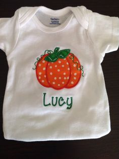 Pumpkin polka dot personalized shirt or onesie by TheBlueSage on Etsy