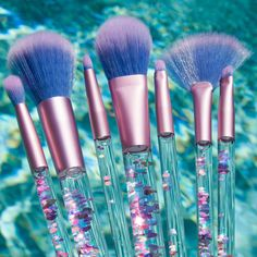 How cute are these brushes from Lime Crime?! Aquarium Liquid Glitter Makeup Brush Set & Pouch from Lime Crime