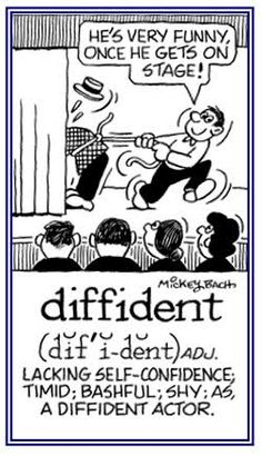 It shows the definition and a picture for the word diffident.